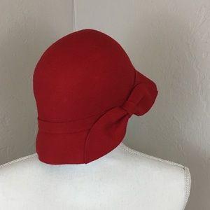 Kate Landry 100% wool red dress hat bow cloche cap